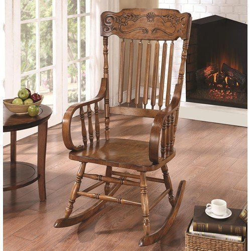 Traditional Rocking Chair With Ornamental Carvings Relaxing Seat Wood Brown #CoasterHomeFurnishings #Traditional