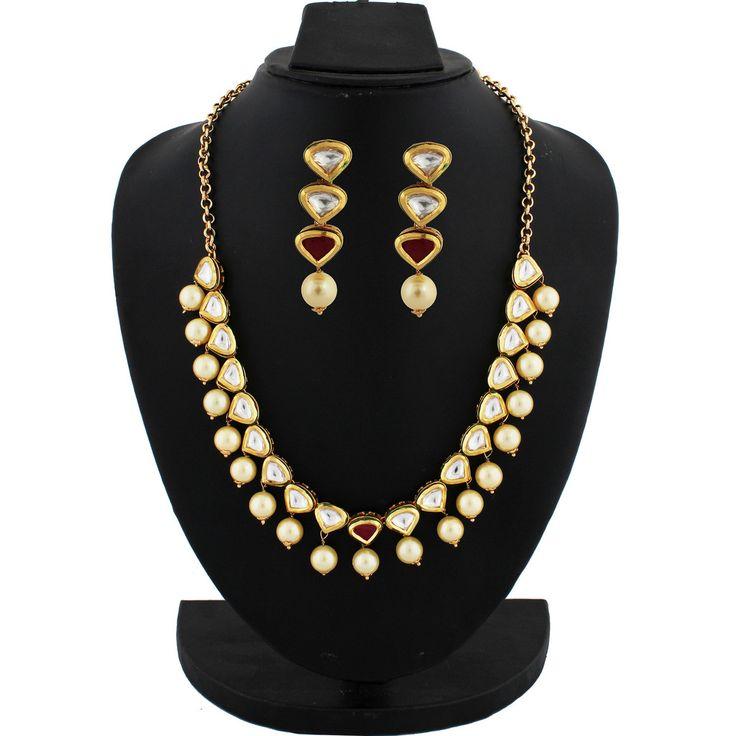 Fancy Gold Plated Kundan Necklace Set