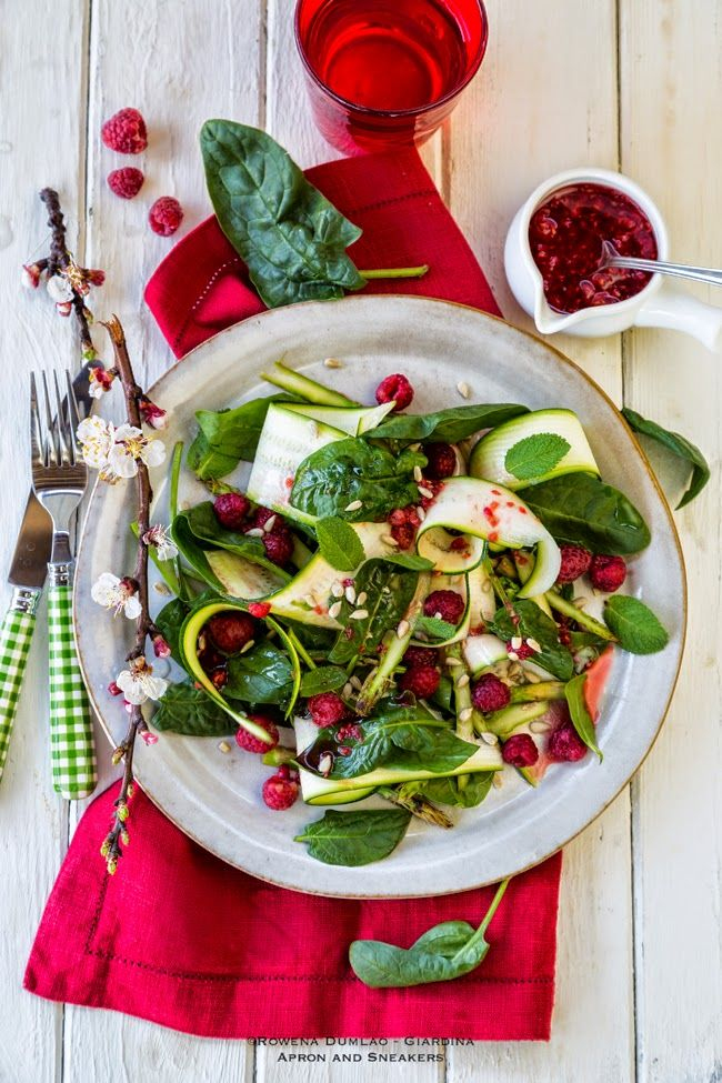 Apron and Sneakers - Cooking & Traveling in Italy and Beyond: Spring Green Veggie Salad with Crushed Raspberry Dressing