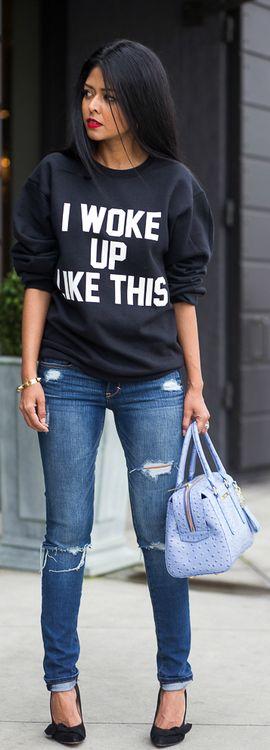 """Funny Sunday Funday sweatshirt!! Or one that says """"We Woke Up Like This"""". :)"""