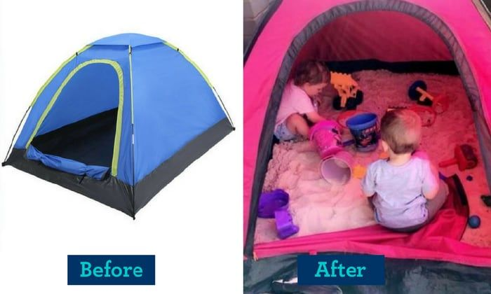 Simple Sandpit Krystal From Kmart Mums Australia Shared How She Turned An 8 Tent Into A Sun Safe Sandpit That Can Be Zip Kmart Hacks Diy For Kids Kids Playing