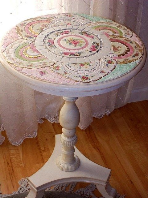 Old plates in mosaic table top