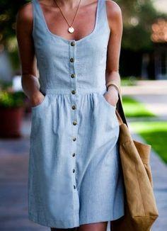 Vestido chamesier sem manga – DIY – molde, corte e costura – Marlene Mukai