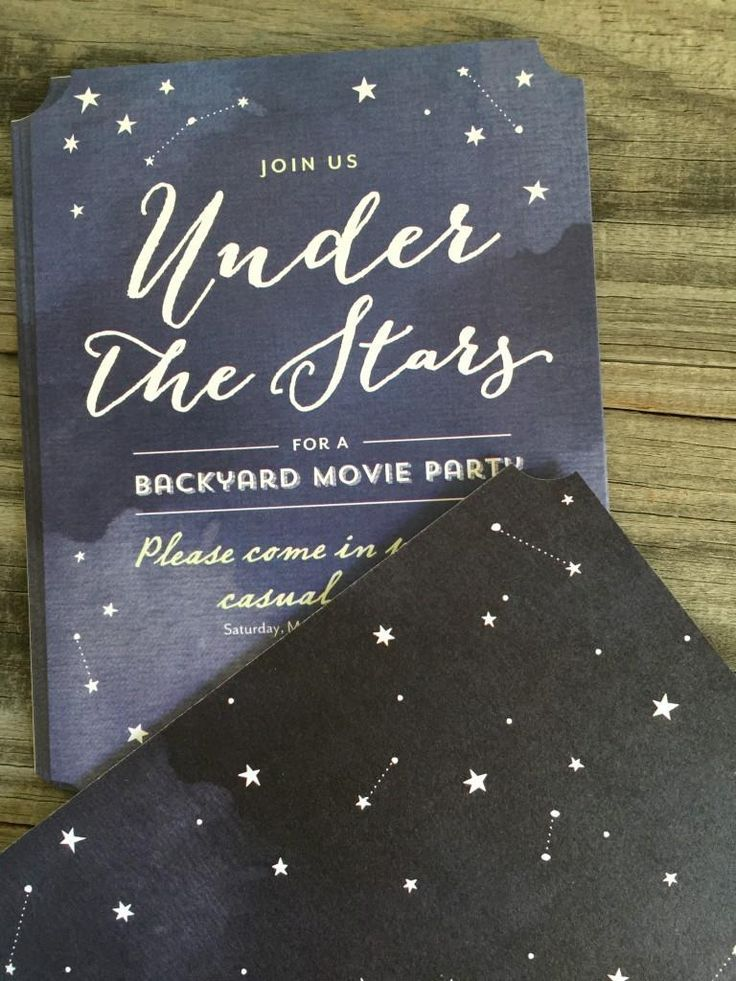 Create custom invitations for a movie night under the stars!