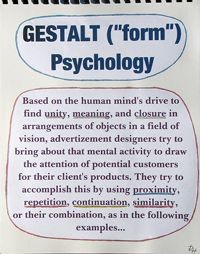 Gestalt Theory and the Psychology of Design  http://www.allgraphicdesign.com/graphicsblog/2008/03/04/the-rules-of-the-gestalt-theory-and-how-to-apply-it-to-your-graphic-design-layouts/