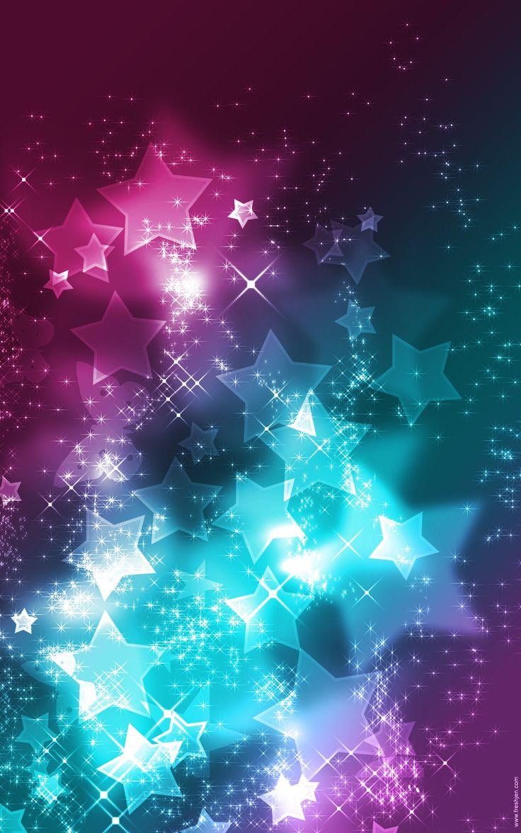 pink teal purple stars wallpaper background Pretty