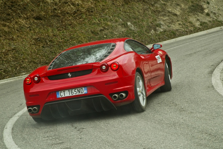 Ferrari F430 to its limits, somewhere near Urbino, Italy, year 2006