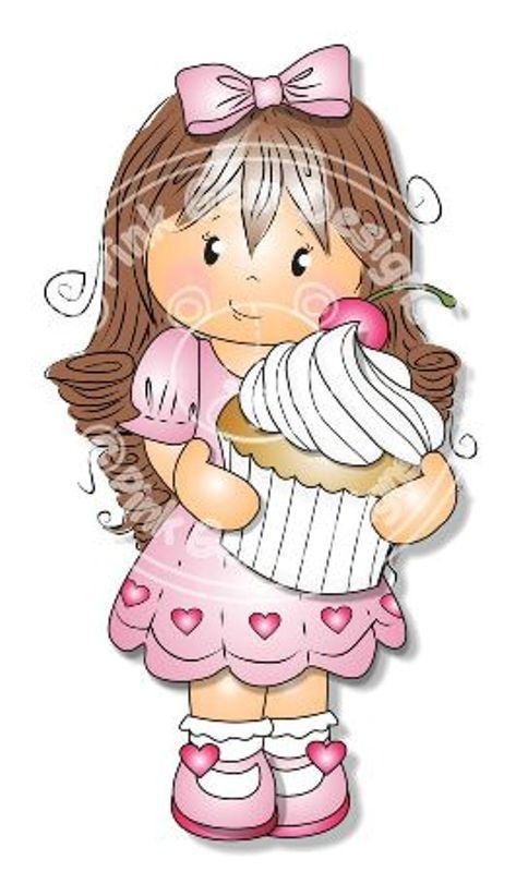 Digital Digi Jodie with Cupcake  Stamp. Girl por PinkGemDesigns