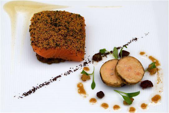 Organic Salmon 'mi-cuit', Spiced Lentils, Foie Gras: Vineyard at Stockcross http://www.the-vineyard.co.uk/
