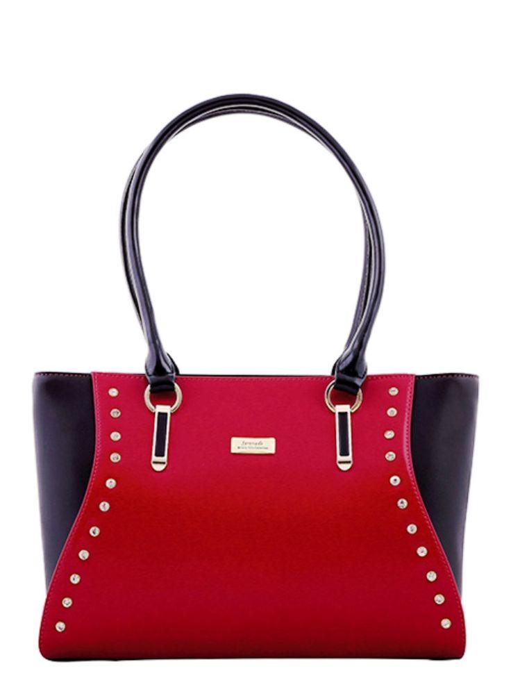 Serenade Bejewel Duo colour Diamonte Leather Handbag. SH55-7381.