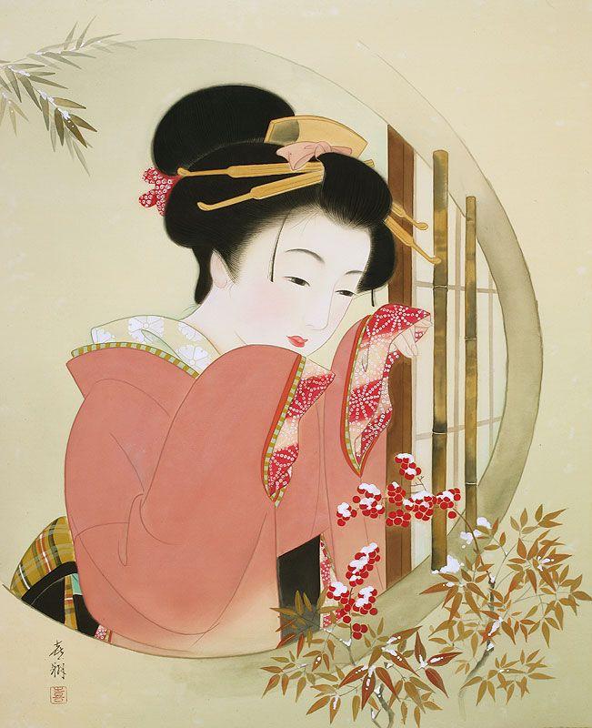 女性イラスト 美人画 雪の朝 [Kisho Tsukuda]