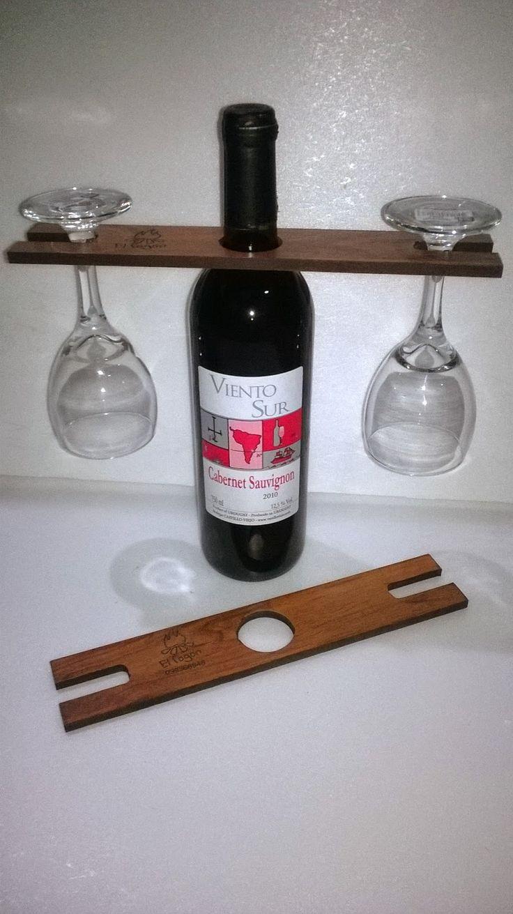 El Fogón - Artesanías en madera rústica y hierro- Uruguay - Flores: 071-Portacopas para botellas de vino