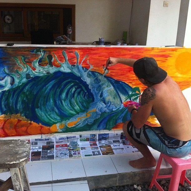 Best Surf Art Images On Pinterest Surf Art Snowboards And - Artist paints incredible seaside murals balanced on surfboard