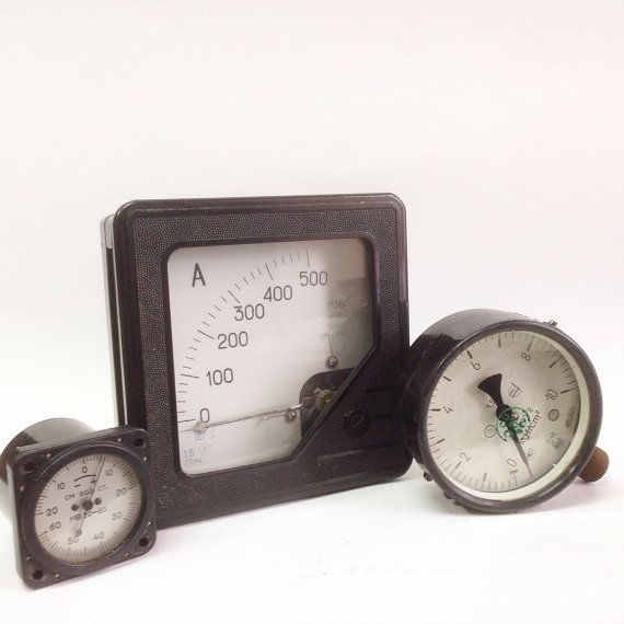 3 Vintage Soviet Industrial Gauges Current Gauge by SovietHardware