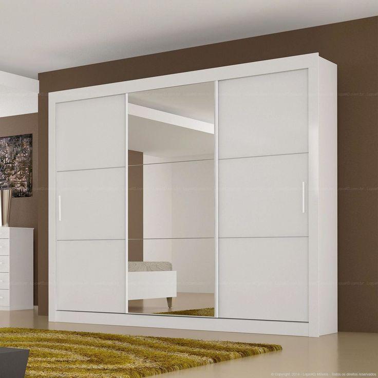 Guarda-roupa 3 Portas de Correr com Espelho Paradizzo em MDF Branco - Novo Horizonte | Lojas KD (Quarto)