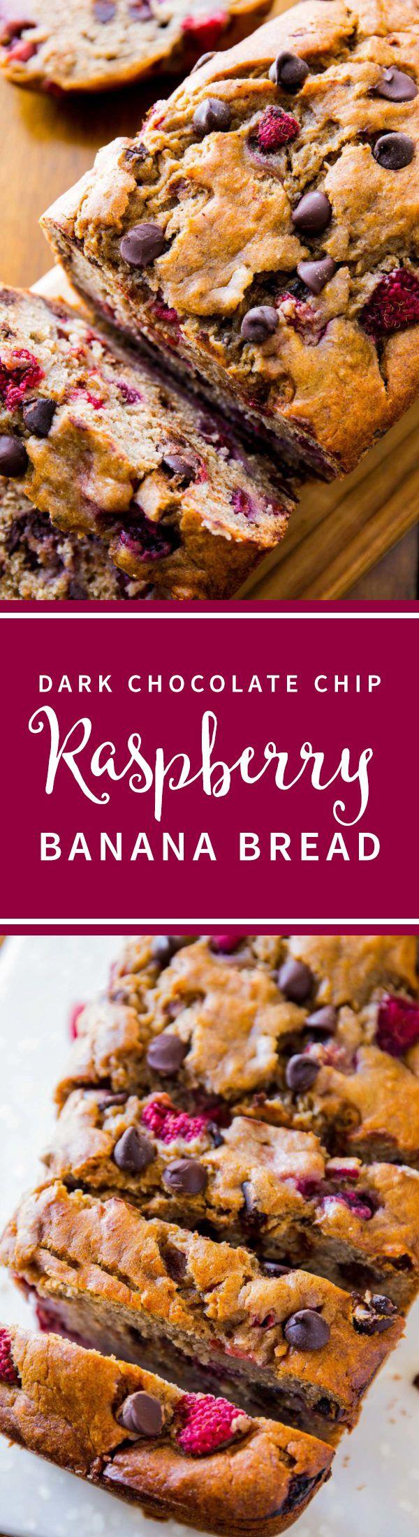 Moist banana bread with dark chocolate and raspberries! Easy recipe for banana bread on sallysbakingaddiction.com