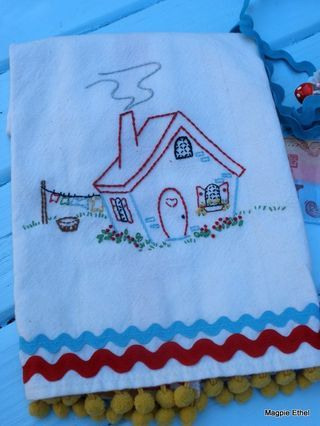 house embroidered tea towel - Magpie Ethel blog