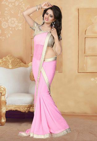 Pearl Work Georgette Saree in Light Pink