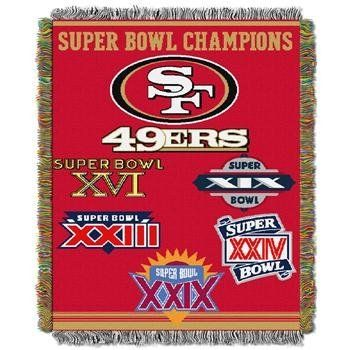 """Northwest San Francisco 49ers Super Bowl Commemorative Throw by Northwest. $40.95. 55% polyester, 45% acrylic. Decorated with the logos of the Super Bowls® wonDimensions: L 60"""" x W 48"""". Team logo adorns the throw. Officially licensed Made in USA. Whether you need a decoration for your fan cave wall or just something to wrap yourself up in while watching the game, the Super Bowl® commemorative throw from Northwest is for you. The throw is decorated with the team logo and the log..."""