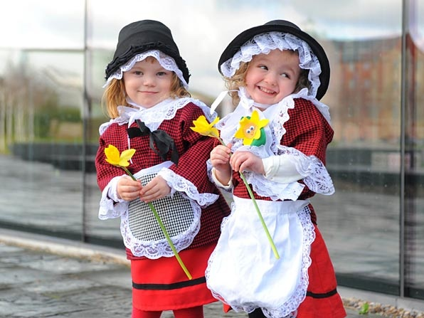 Awww! #cymru #wales  all little girls and many adults will dress like this on March 1st St Davids Day