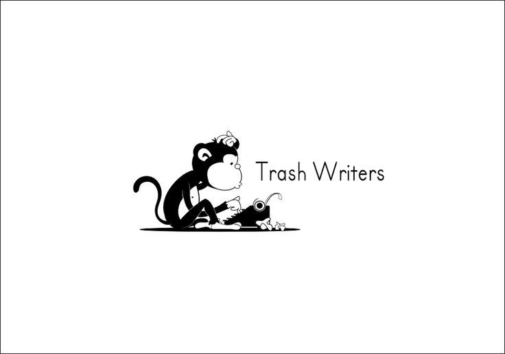 Logo of a monkey typing on typewriter needed for a creative writing website by R.I.Z.A.L