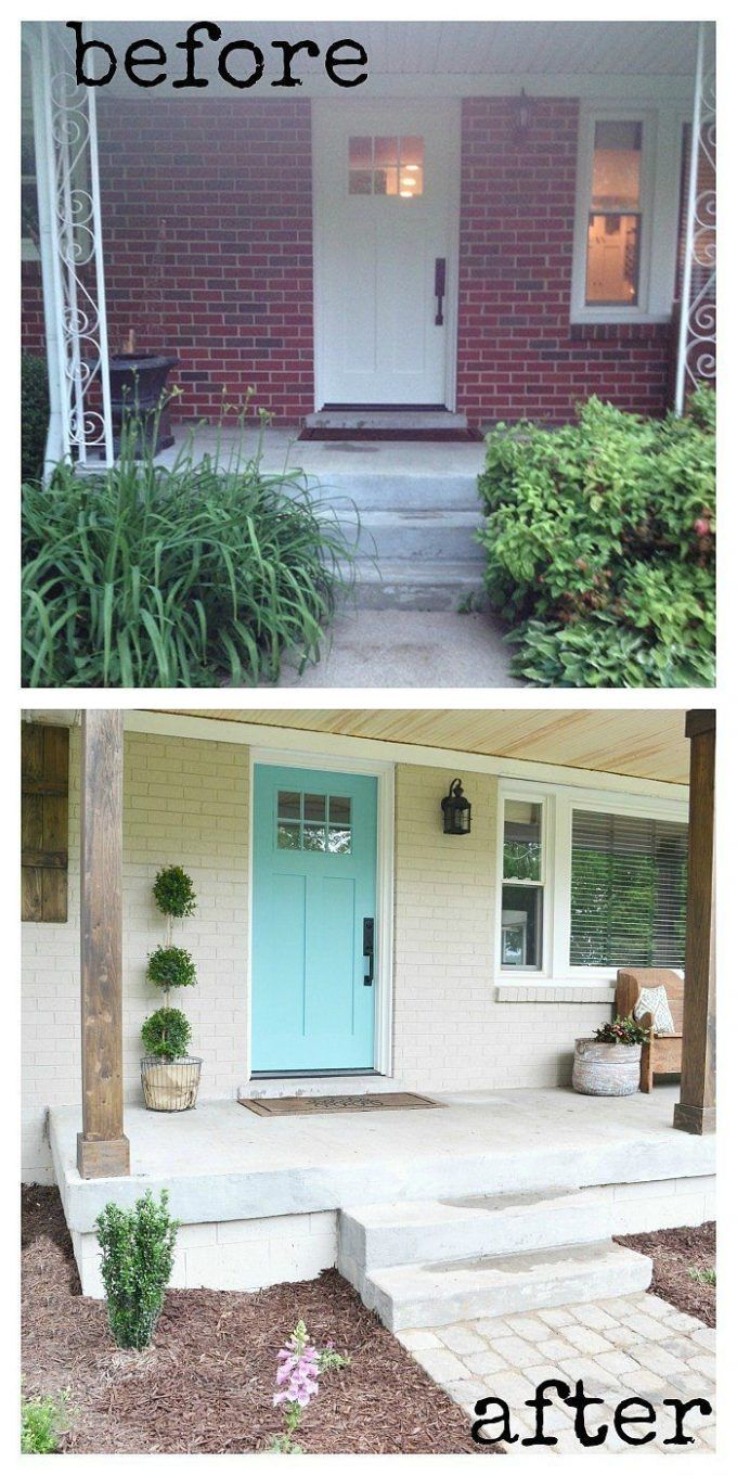 Painted brick houses with exterior paint ideas and front entry door also window treatments