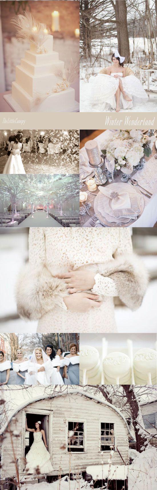 Winter Wonderland All White Wedding Theme Board