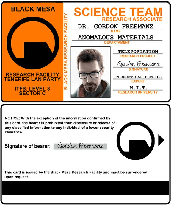 half-life gordon freeman ID card