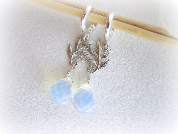Moonstone opalite earrings silver branch by MalinaCapricciosa