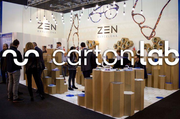 Diseño y producción de stand en cartón para ZEN BARCELONA en la feria MIDO Eyewear show 2015 en Milán. By Cartonlab.