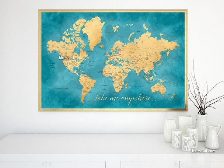 Take me anywhere, Teal and gold world map with cities, print in 36x24""