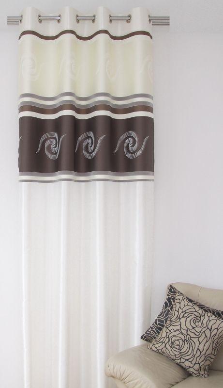Luksusowa zasłona do sypialni w kolorze ecru z ciemnokakaowym wzorem