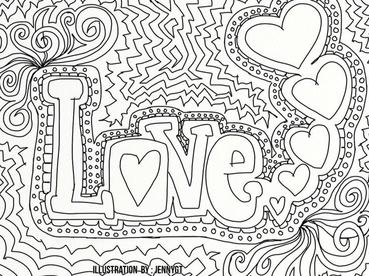 free coloring image for adults free coloring image for grown ups positive love - Free Colring Pages