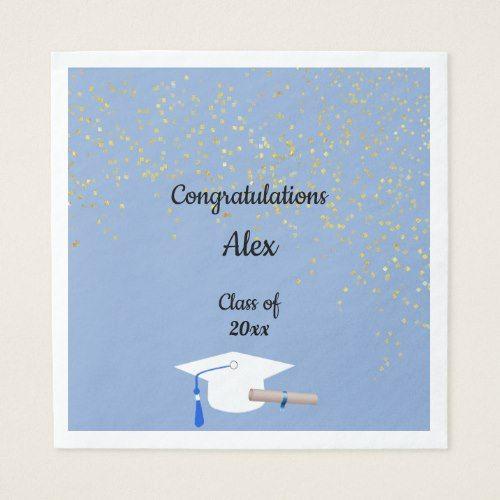 Congratulations Graduate, Gold Confetti, Custom Napkin