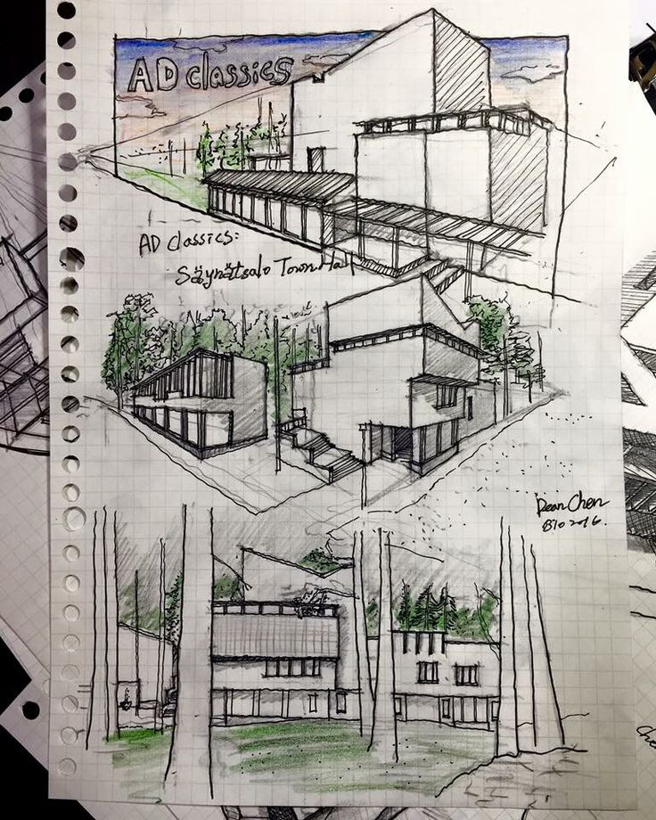collection of hand drawn architecture presentation sheets from