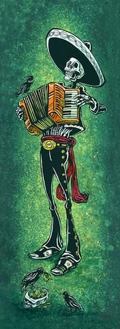 blissful bellows by david lozeau skeleton mariachi accordian canvas art print musician mexico sombrero mexican artwork