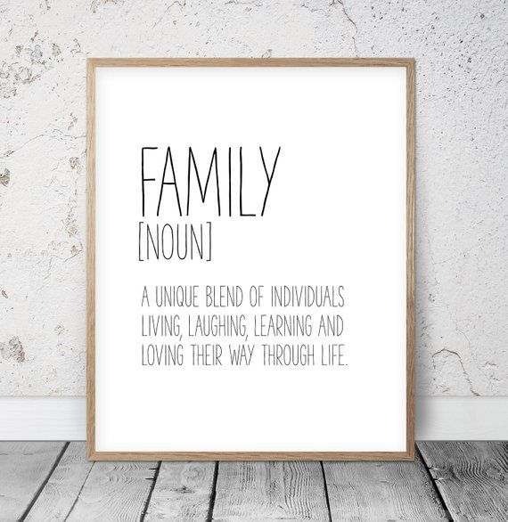 FAMILY Definition Typography Inspirational Funny Wall Art Print Poster Gift Idea