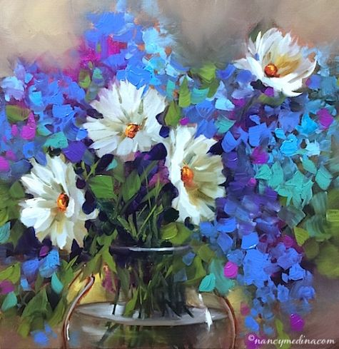 Daisy Bedazzlers and a Southern France Workshop, painting by artist Nancy Medina