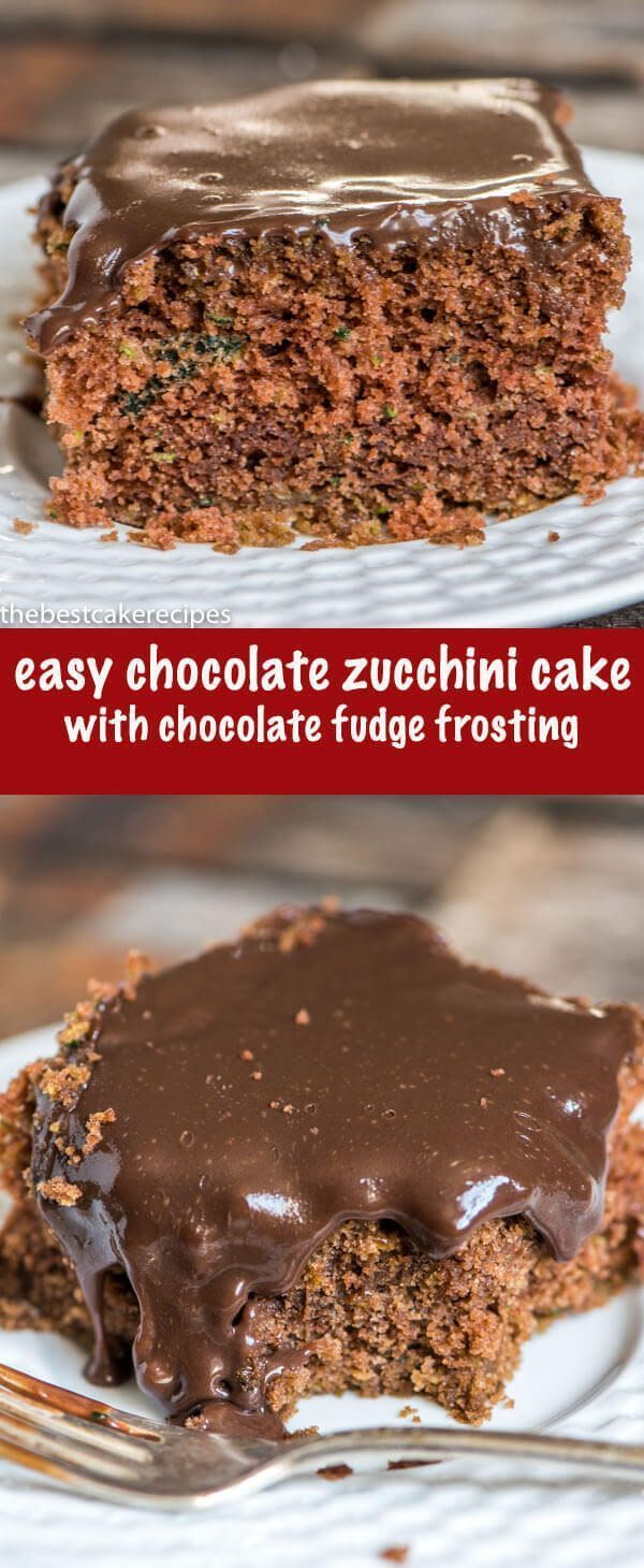 Use garden zucchini in this easy 9x13 chocolate zucchini cake recipe. Top with easy fudge sauce or your favorite chocolate frosting. via @thebestcakerecipes