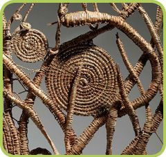 Phyllis's story: Since I've learnt how to weave I've realised how important it was for the Aboriginal people, for the women on the east coast, I've put the weaving plant, Lomandra, which was used for basket making and fish traps.