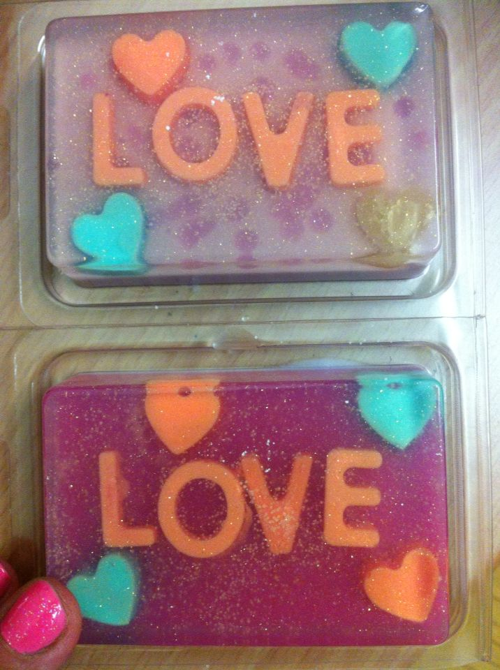 Some more of my love design soaps. Great for Valentines day gifts. All natural sls sles free these are palm free and goats milk base. $3.50 each