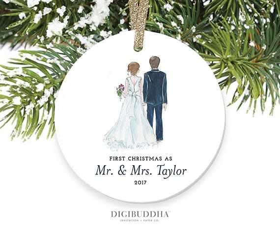 Bride Groom Ornament First Christmas As Mr Mrs 2017 1st Married Christmas P First Christmas Ornament Christmas Ornaments Personalized Christmas Ornaments