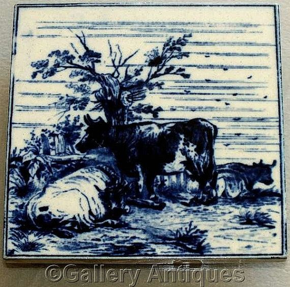 Rare Antique Victorian Minton Hollins Dark Flow Blue Cattle animals Transfer Printed Tile Designed by W P Simpson c.1880 (ref: H103)