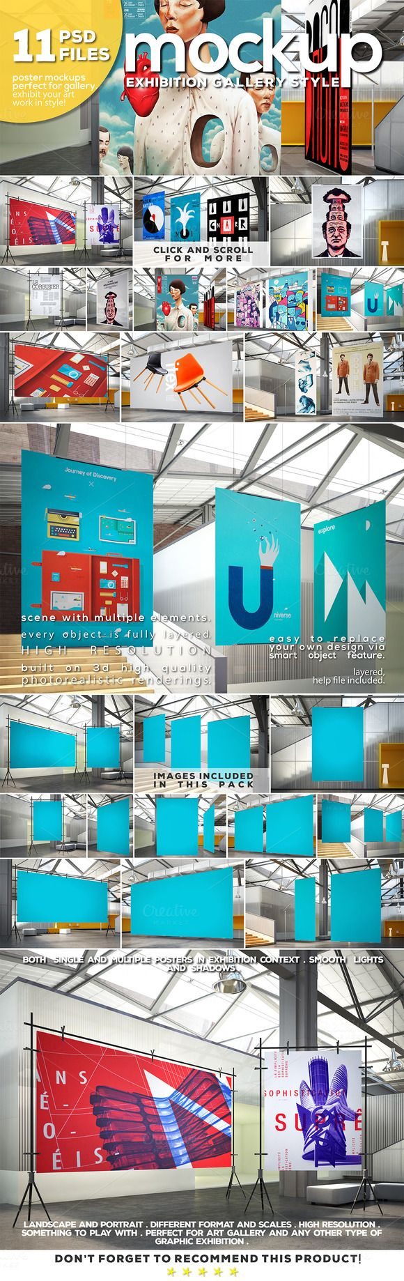Gallery Exhibition Poster Mockups by DESIGNbook on Creative Market