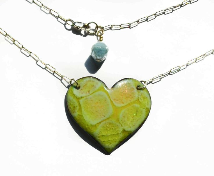 Chartreuse  Bubbles Vitreous Enamel  Heart Necklace by PrayerMonkey on Etsy
