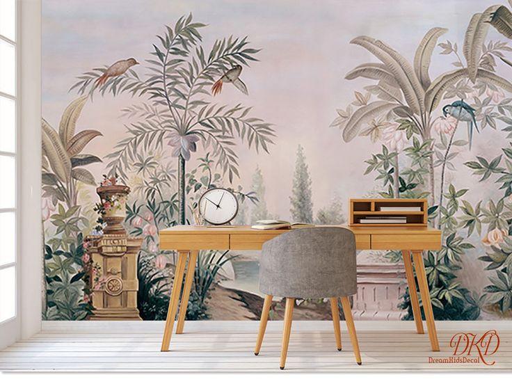 Tapeten - Tapeten-Vintage tropische Blätter Tapete - ein Designerstück von dreamkidsdecal bei DaWanda