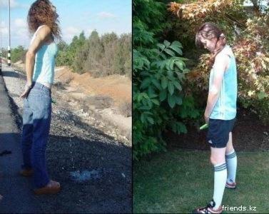 Пьяные девушки ссут себе в джинсы