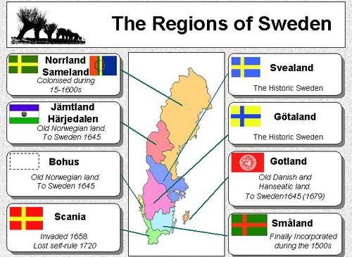 The regions of Sweden. Just discovered the changes. Varmland is now Svealand.