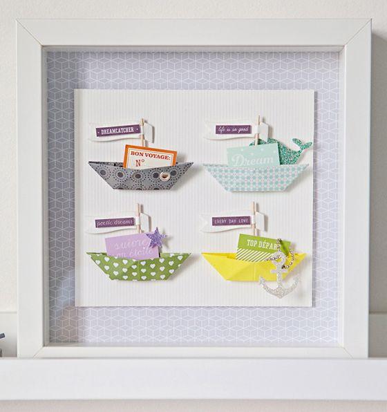DIY cadre de petits bateaux en origami - Une création de Stéphanie de l'équipe créative Kesi'art - Semaine spéciale maritime sur le blog !