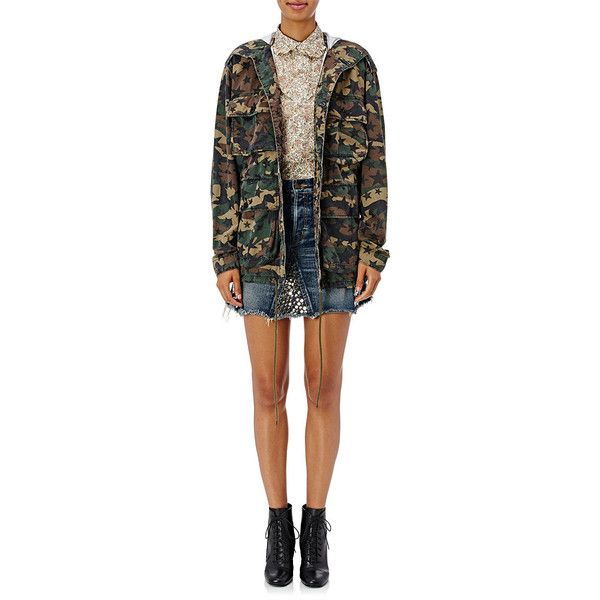 Saint Laurent Camouflage & Star-Print Hooded Field Jacket | Barneys... ❤ liked on Polyvore featuring outerwear, jackets, army camouflage jacket, camo print jacket, field jacket, camouflage jackets and military jackets